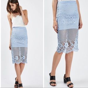 TOPSHOP Lace Panelled Pencil Skirt